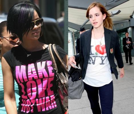 e2f84b5066 Rihanna egykoron visszafogottabb stílusban hódított, ám a pólója a pimasz  hippikorszak jelmondatát adja vissza: Szeretkezz, ne háborúzz!